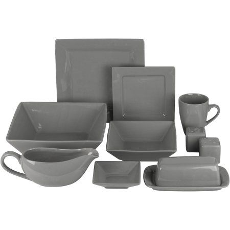 Nova 24-Piece Square Dinnerware Set Plus 10 Bonus Serving Pieces - Walmart .com  sc 1 st  Pinterest : walmart dinnerware sets - pezcame.com