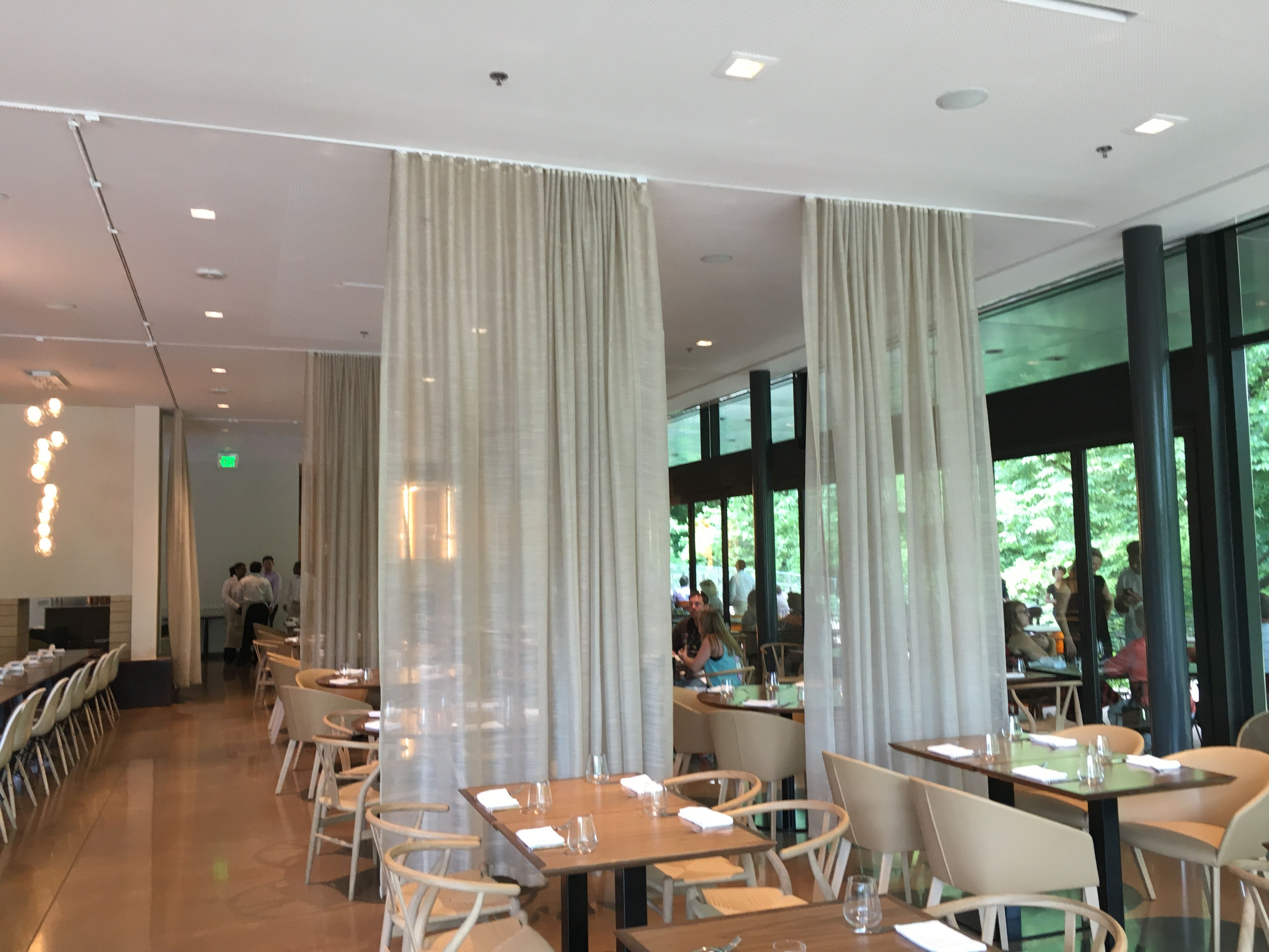 Restaurant Room Divider Ripplefold Drapes