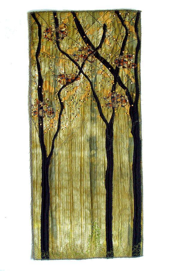 Contemporary Textile Wall Art, golden beads, black trees, home decor ...