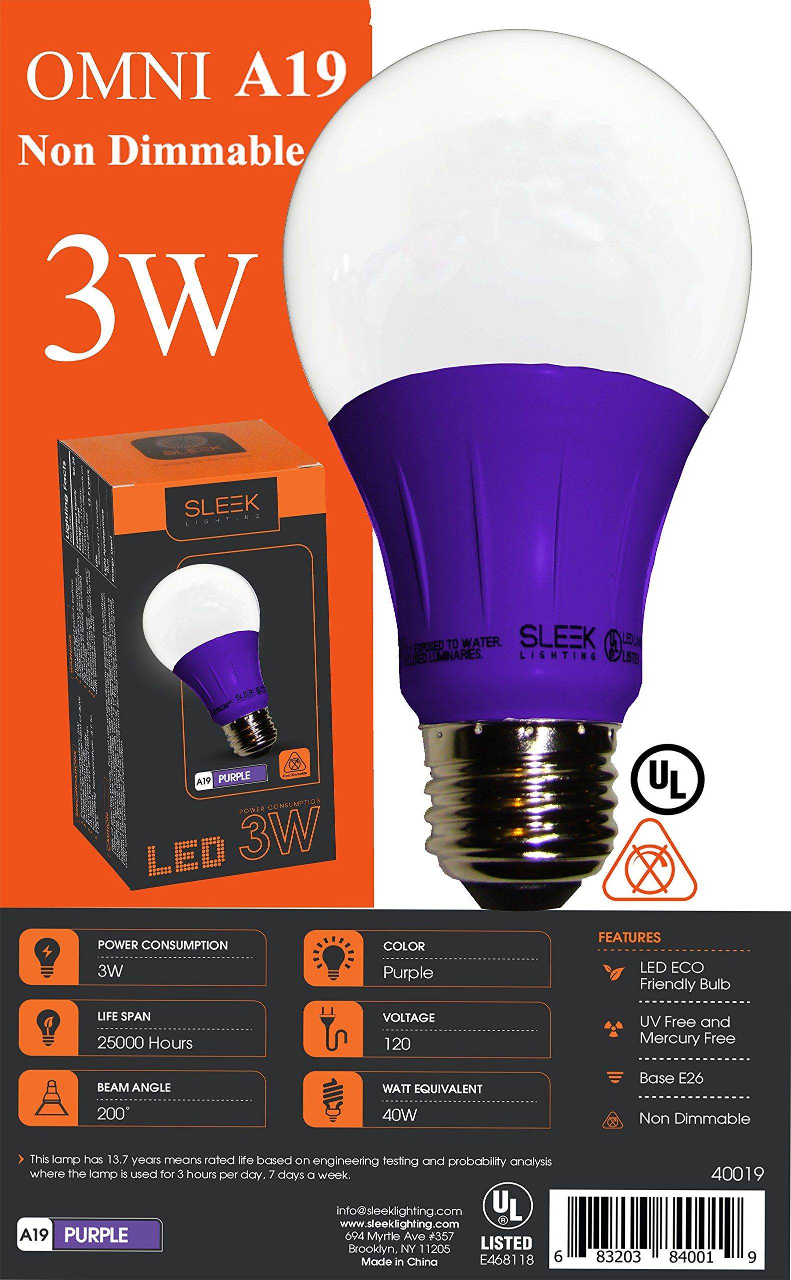 Sleeklighting Led A19 Purple Light Bulb 120 Volt 3watt Energy Saving Medium Base Ullisted Led Bulb Lasts More Than 20000 Hours 2pa In 2020 Light Bulb Bulb Led Bulb
