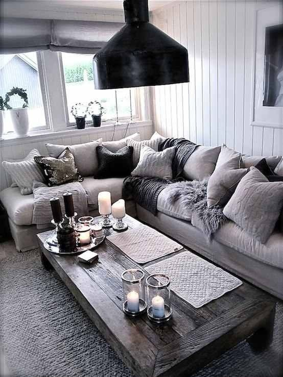 20 Fantastic Grey Living Rooms   The Grey Home. I Like That Coffee Table  For Outside