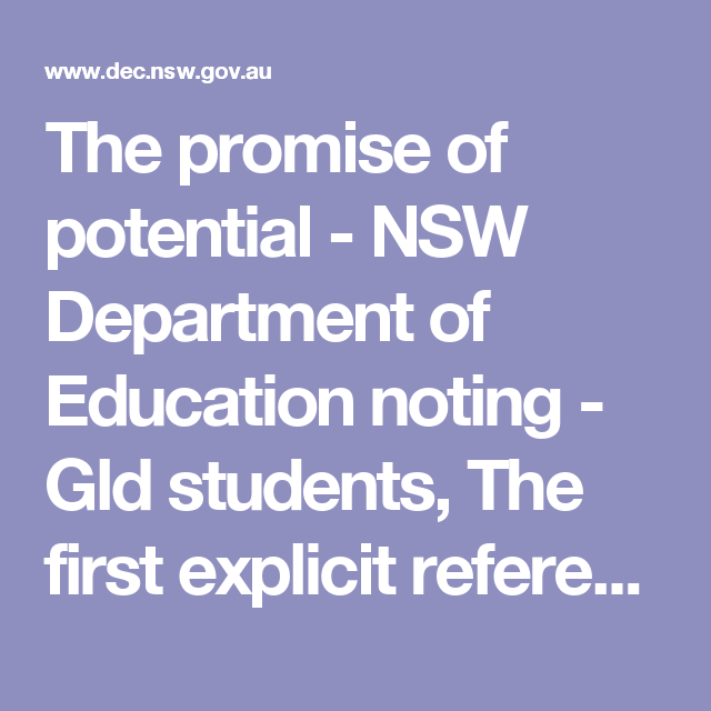 The promise of potential - NSW Department of Education