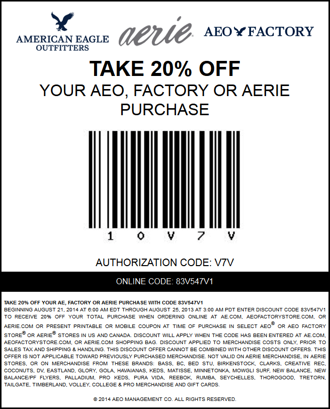 american eagle coupons 20 percent off