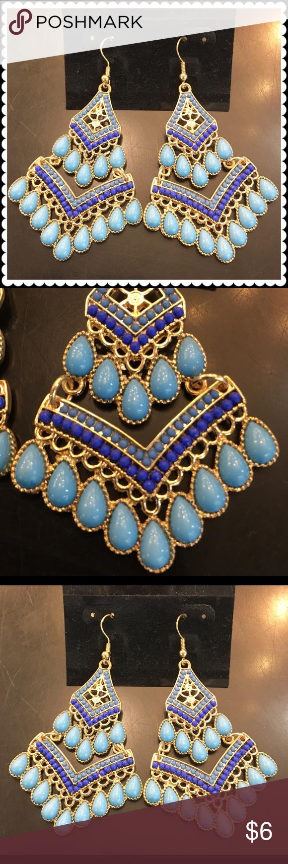 Blue fish hook dangle earrings Turquoise/Blue dangle earrings Jewelry Earrings