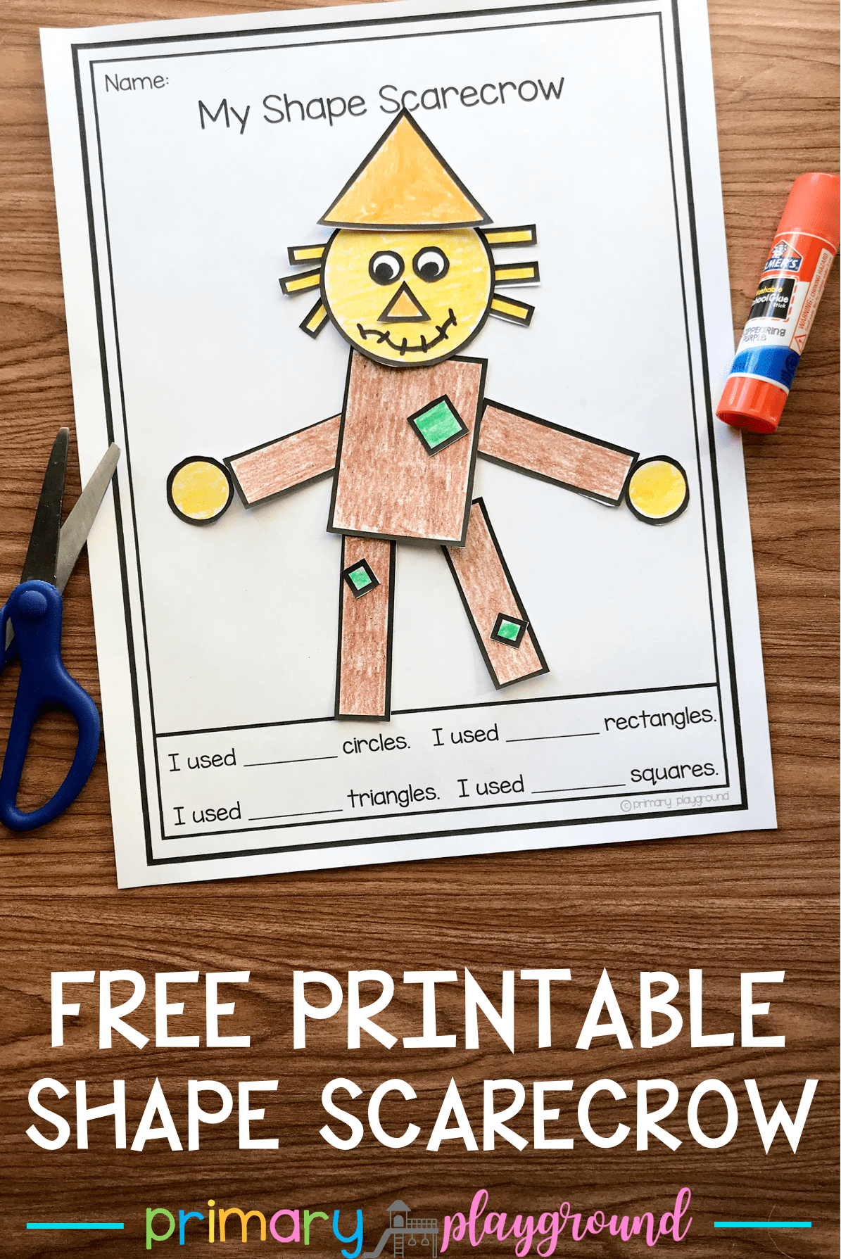 Kinder Garden: Free Printable 2D Shape Scarecrow