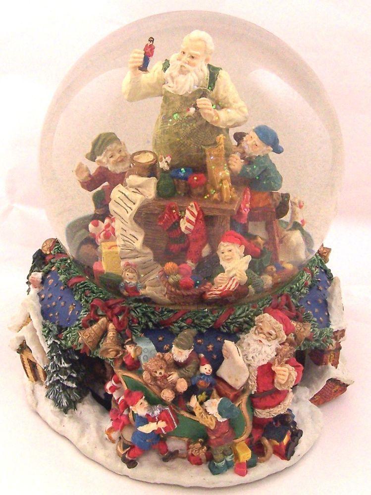 Kirkland Christmas Musical Snow Globe Santa Elves in Workshop Water ...