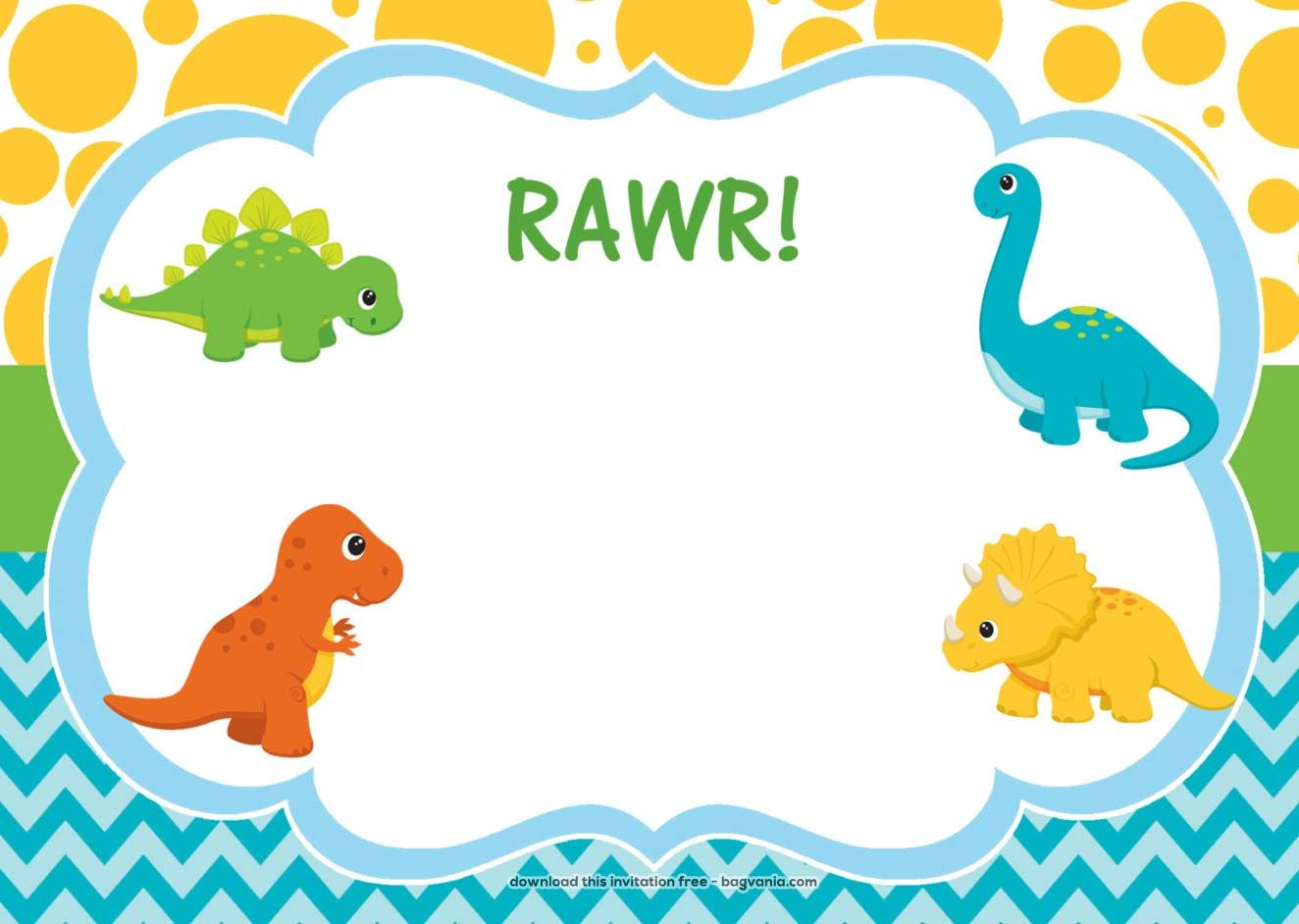 Download FREE Dinosaur Birthday Invitations