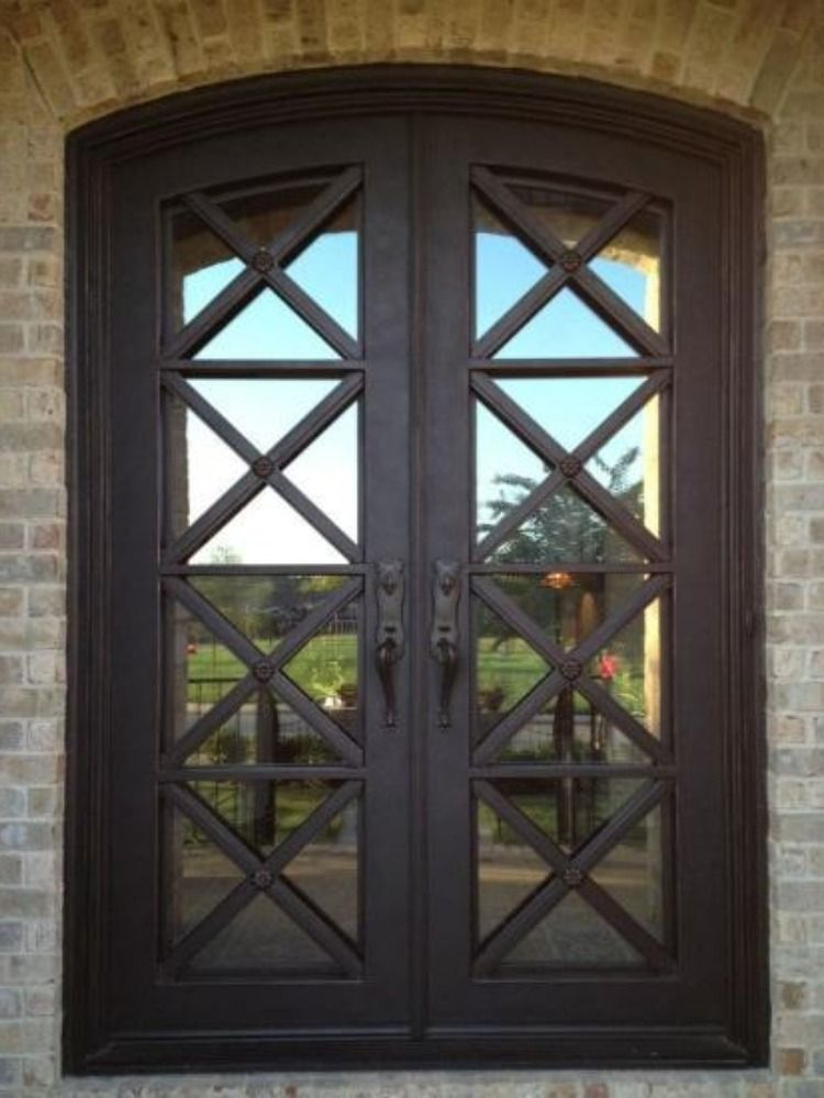 Wrought Iron Double Doors Made Of 16 Gauge Steel With 1 2 To 3 4 Wrought Iron For Beautiful Design Work Our S Iron Doors Iron Entry Doors Wrought Iron Doors