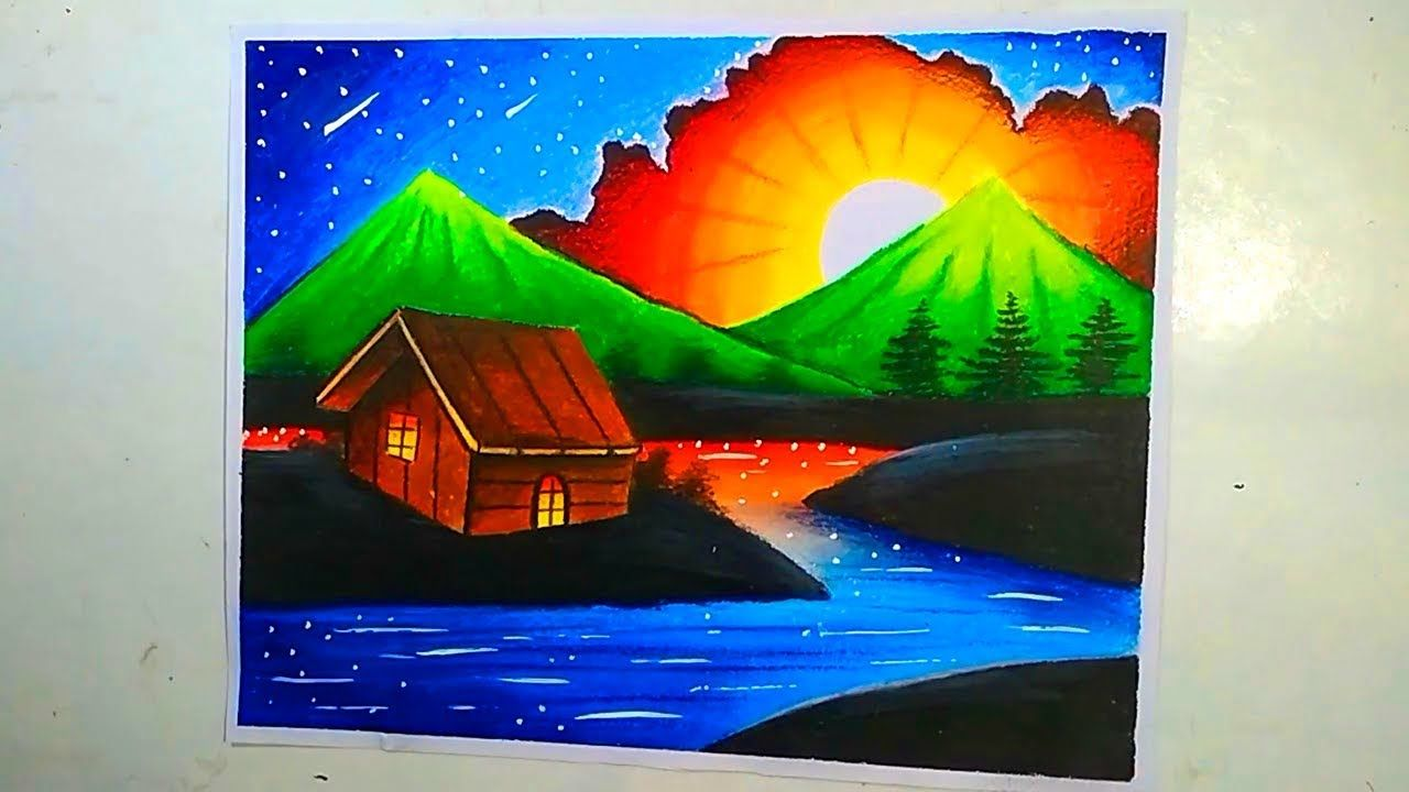 Beautiful Night Landscape Scenery Drawing With Oil Pastel Step By Step Oil Pastel Oil Pastel Drawings Night Landscape