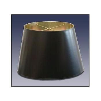 Standard Oval Black Parchment Lampshade With Gold Foil