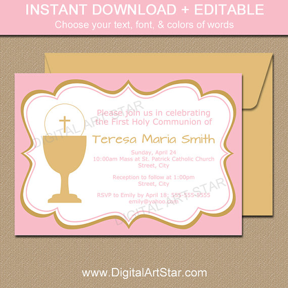 pink and gold girl first communion invitation download first