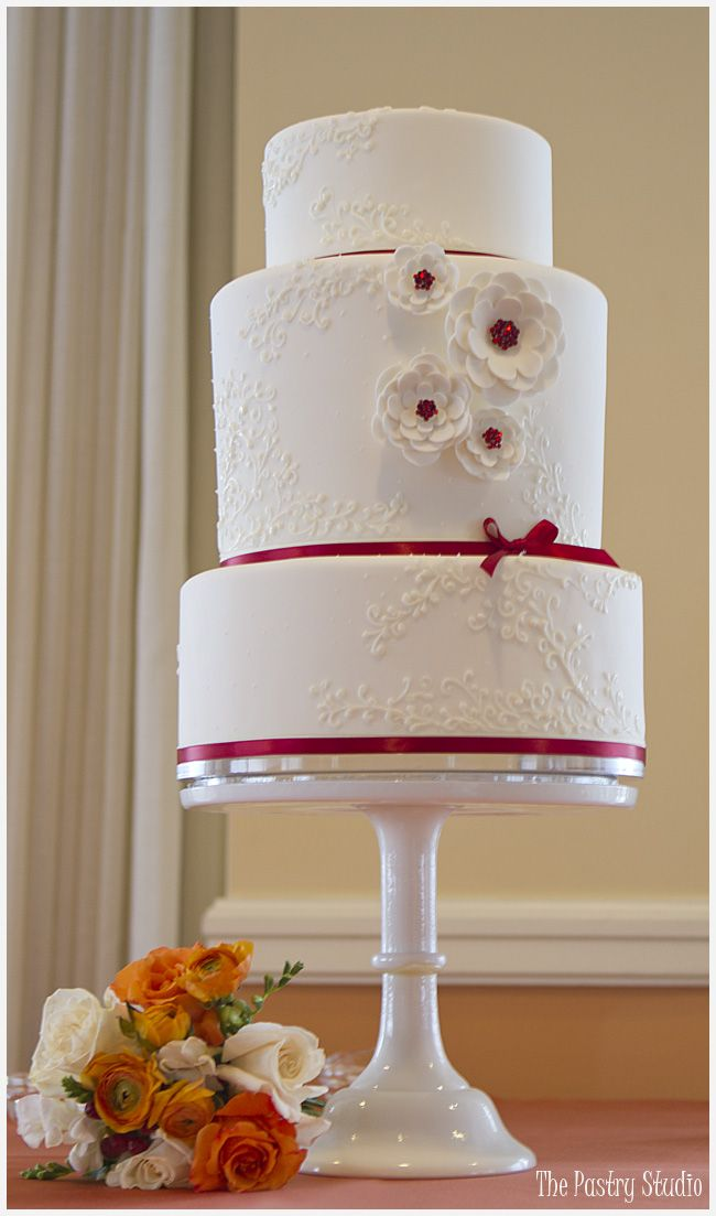 A Red Romantic Wedding Cake featuring Suagr-Paste Swarovski Crystal Centers by The Pastry Studio:Daytona Beach, Fl