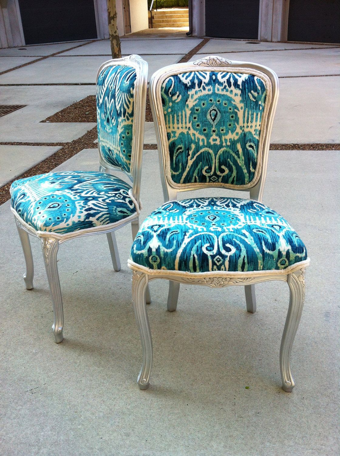 Ikat French Louis Xvi Dining Chairs Pair Burlap Upholstered