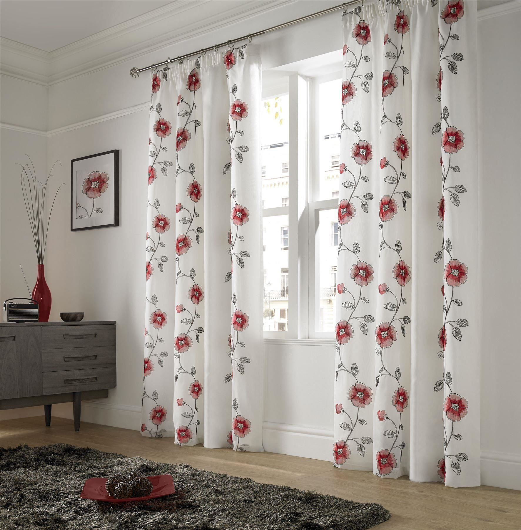 Embroidered poppy red white lined pencil pleat voile curtains