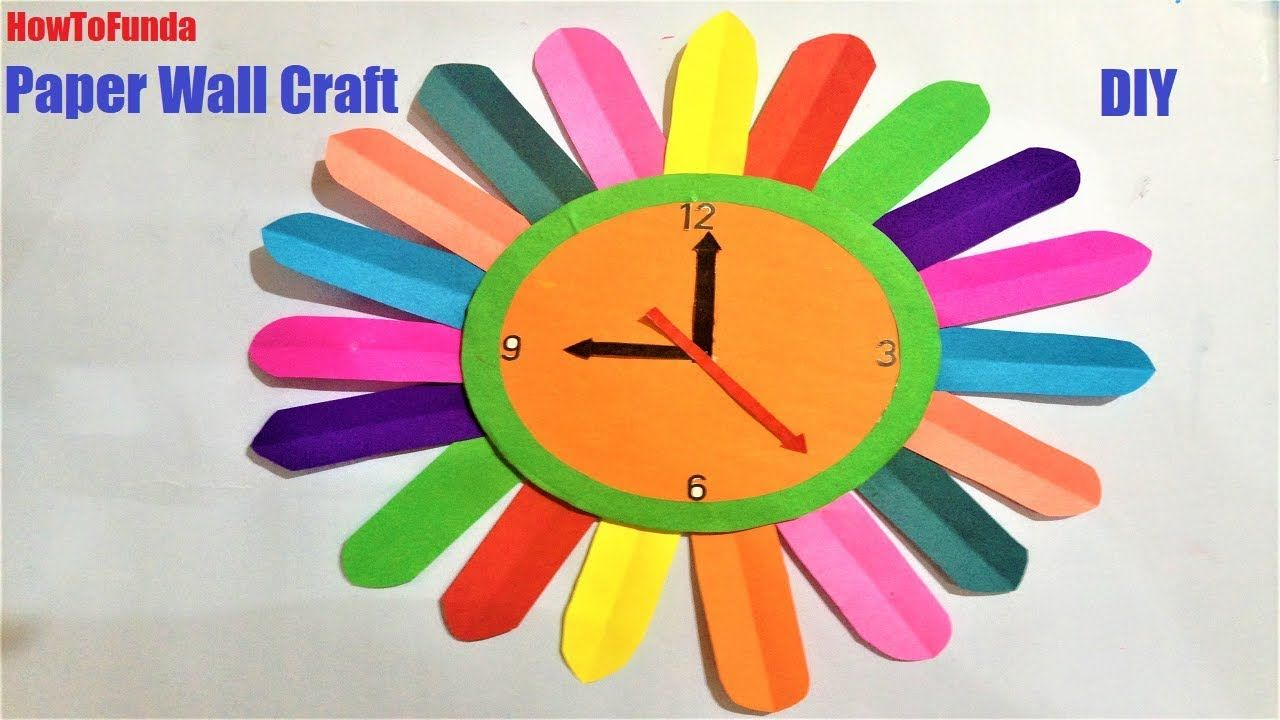 Kids Craft With Waste Materials Clock Craft Wall Clock Craft