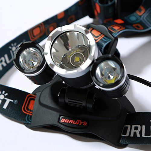 Weanas® 3X CREE XM-L T6 U2 4 Modes Super Bright 5000Lm Headlamp Torch Flashlight with Adjustable Base Cree LED Lamp Headlight Bicycle Light for Camping, Hiking, Climbing, Cycling, Travelling, Fishing, Hunting with AC Charger and 2 x 4000mah 18650 Rechargeable Batteries and 1 USB Cable http://www.amazon.com/gp/product/B00OOOC6LY