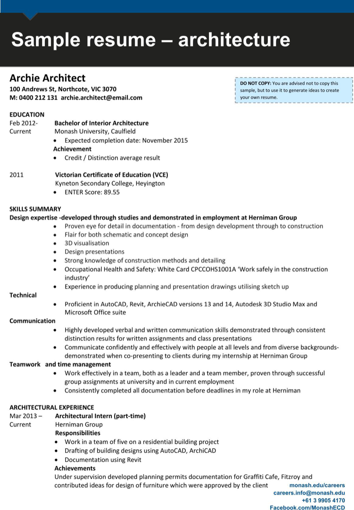 Having Architect Resume Architecture Resume Architect