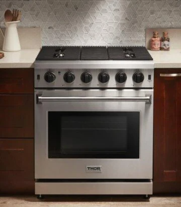 Thor Kitchen 30 4 55 Cu Ft Professional Natural Gas Range In Stainl In 2020 Gas Range Oven Racks Ventilation Hood