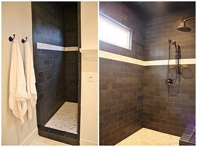 Dark Tile Shower Light Floor Master Bedroom Bathroom Dark Tile