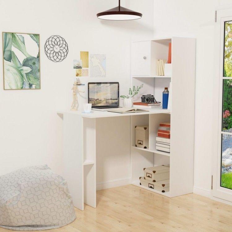 White Computer Desk With Bookshelf Shelves Modern Workstation