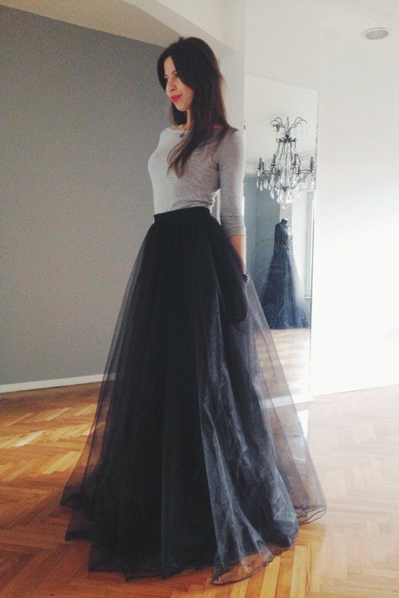 3e55fdcb4 Black tulle maxi skirt in 2019 | Products | Skirt fashion, Dresses ...