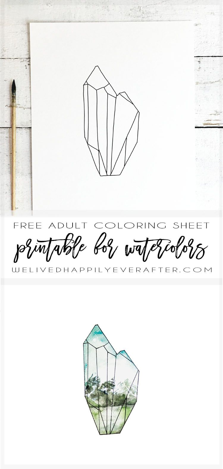 Fun Geometric Crystal Winter Snowy Mountain Free Coloring Sheet