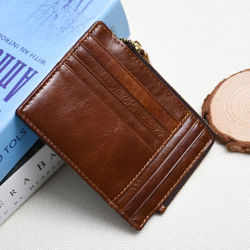 men credit card holder genuine leather coin pocket slim ID business ...