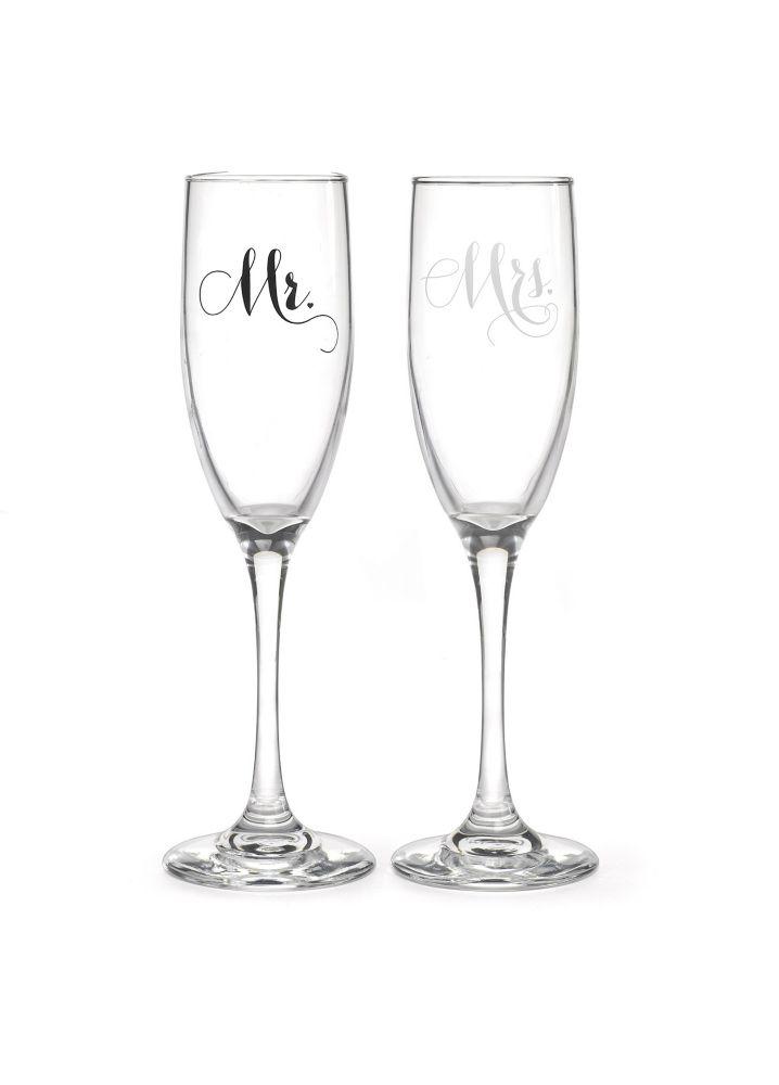 Mr and Mrs Elegant Toasting Flute Set Style DBK34989