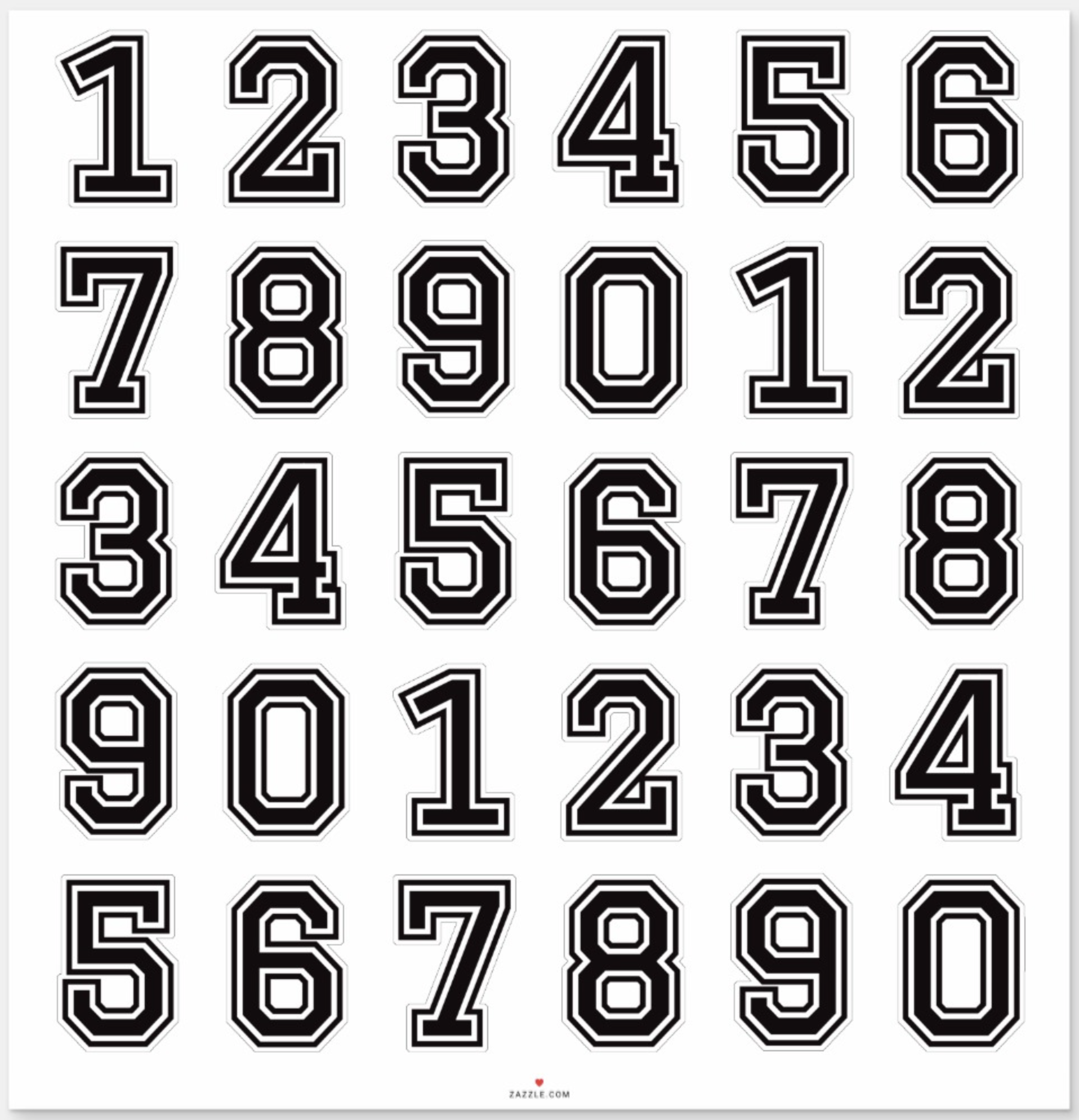Numbers 0 9 Black College Sports Font Sticker Zazzle Com Sports Fonts Graffiti Lettering Fonts Lettering Alphabet