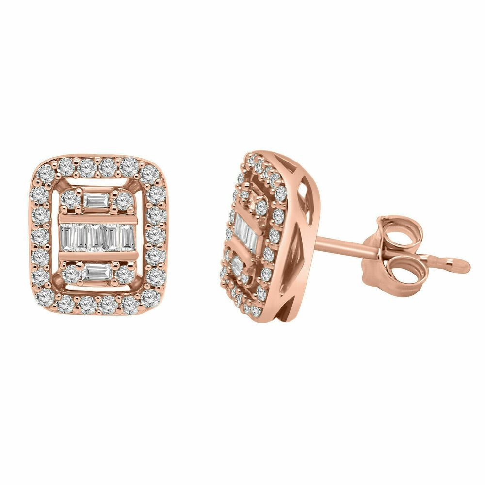 10K Solid Yellow Gold 0.05CT Natural Diamond Anchor Stud Earrings Screw Back