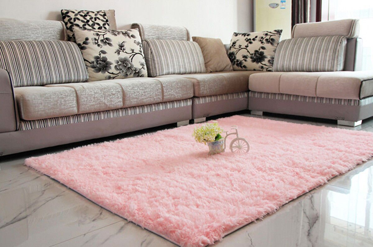 Fluffy Rugs Anti Skid Shaggy Area Rug Dining Room Home Bedroom Carpet Floor  Mat (Pink)