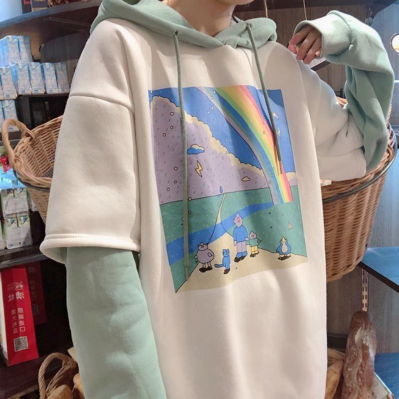 Cartoon Oversize Hoodie Fake Twopiece Inner Fleece Retro Outfits In 2020 Retro Outfits Oversized Outfit Oversize Hoodie