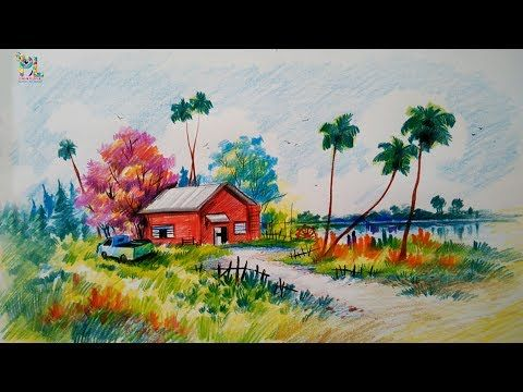 How To Draw A Very Easy Colorful Village Landscape For Beginners