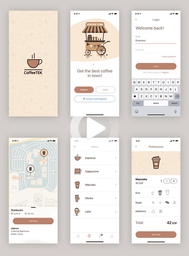 Coffee app design template for Sketch in 2020 App design