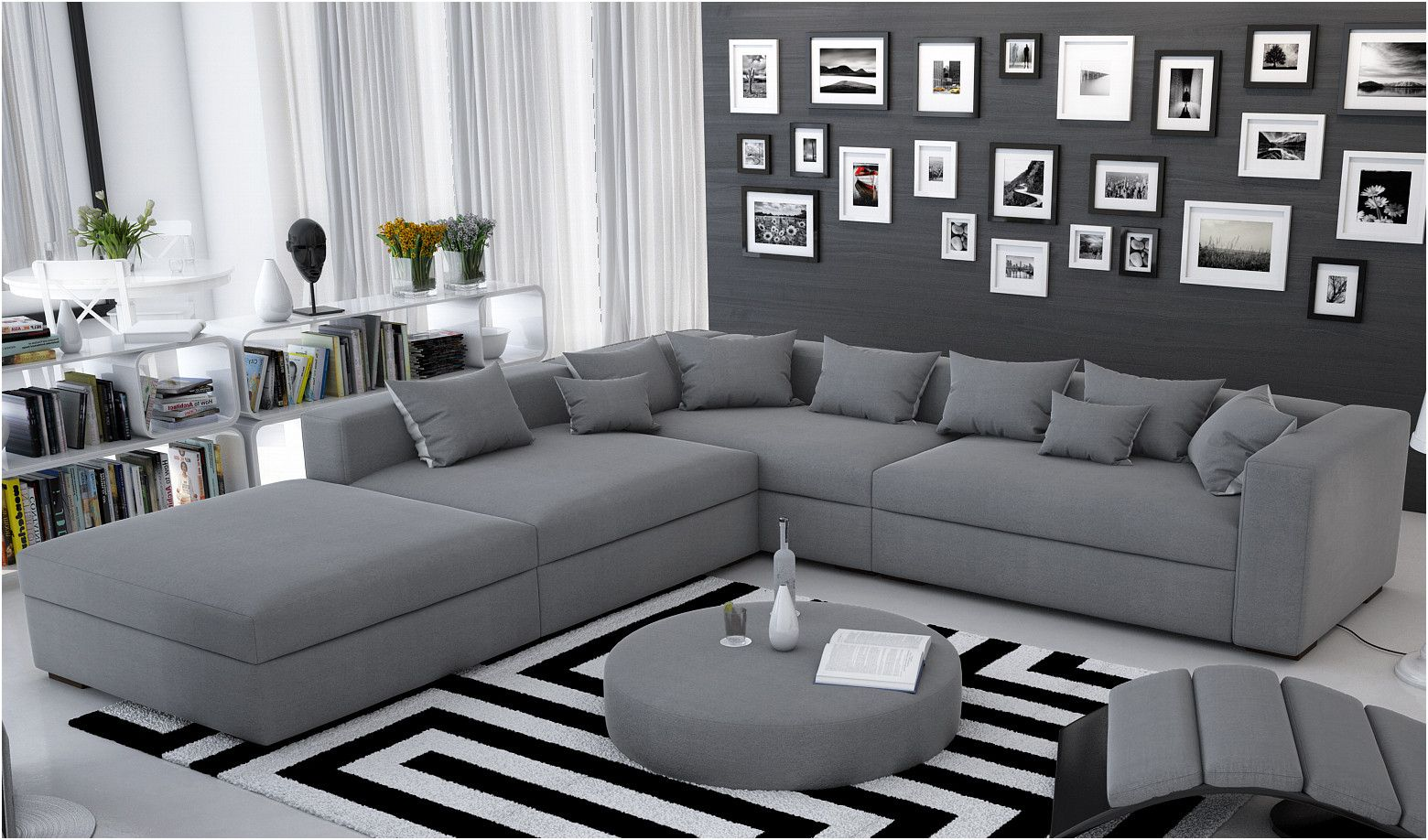Bescheiden sofa Grau Holzfüße