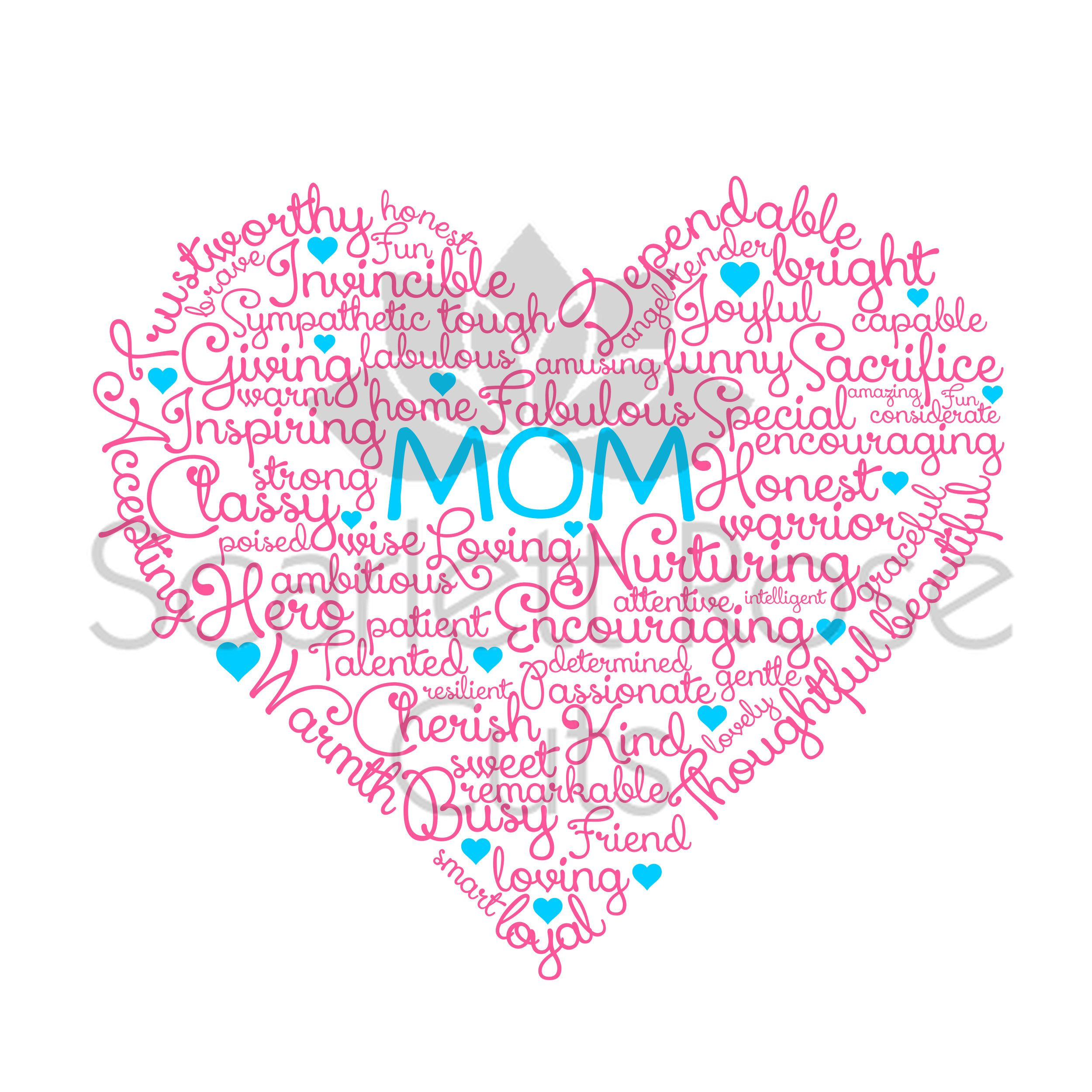 Mother's Day SVG cut file, Word Cloud, Heart, Love, gift by ScarlettRoseCuts on Etsy