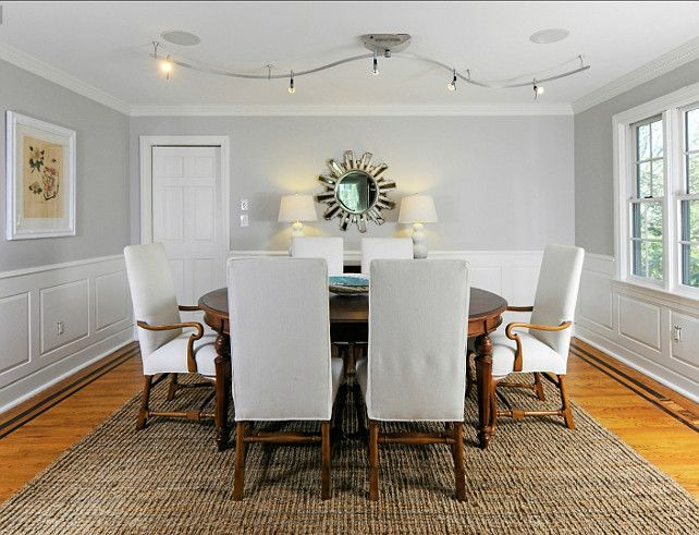 beautiful dining room with simple subtle paint colors. benjamin