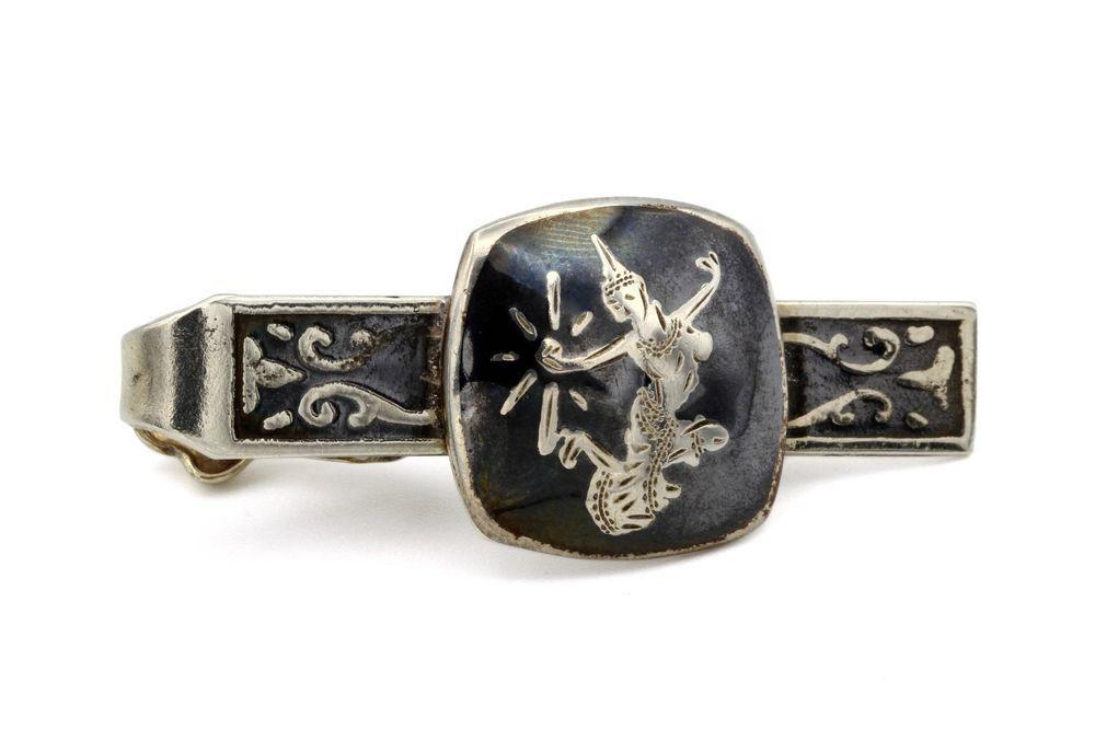 270da7432a1a Asian Enamel Mens Tie Bar, 925 Sterling Silver Tie Clip, Antique 1930s Tie  Clasp #Siam #TieBarClipClasp