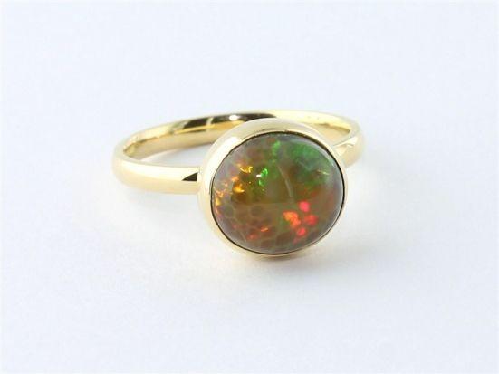 18k Gold 3.09 Carat Honeycomb Opal Ring