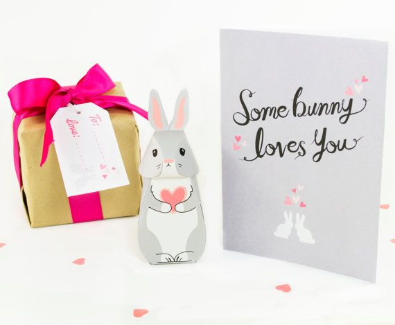 Printable some bunny loves you card and gift box pdf kit printable some bunny loves you card and gift box pdf kit valentines printable 575 negle Images