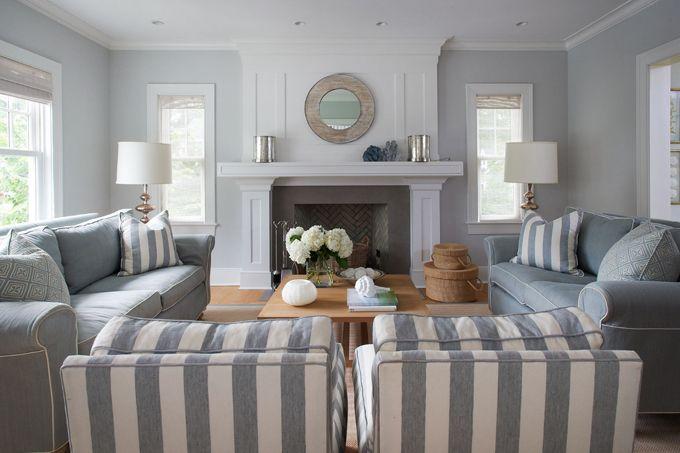 Blue-Gray living room, stripes, herringbone tile via Jeff McNamara Photography