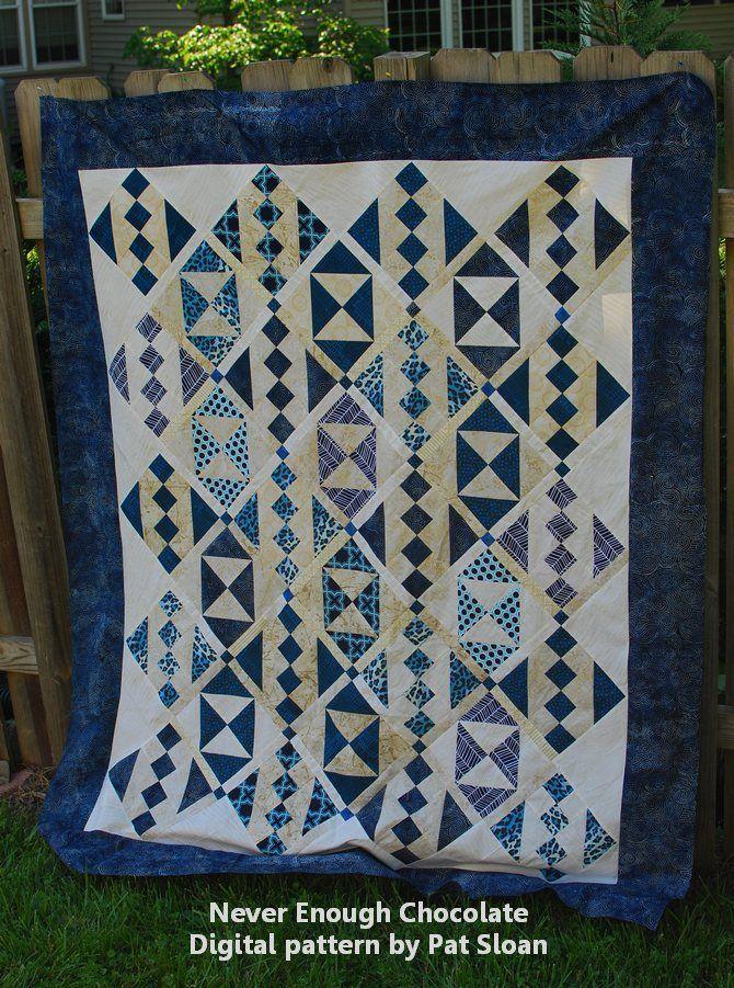Pat Sloan Never Enough Chocolate Blue White Final Quilt Patterns Scrap Quilts Two Color Quilts