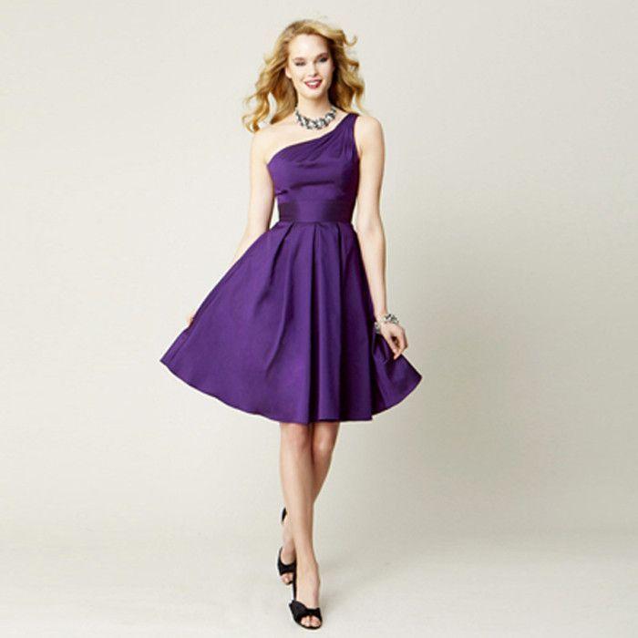 2016 Vestido de Noiva Purple Short Bridesmaid Dresses Knee Length ...