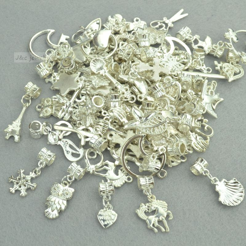 New 50pcs mixed wholesale metal charms bright silver big hole bead new 50pcs mixed wholesale metal charms bright silver big hole bead charm pendants fits european bracelets jewelry making 3118 aloadofball Image collections