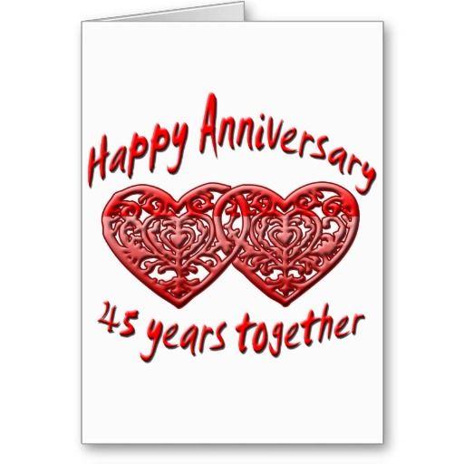 45th Anniversary Card Zazzle Com Anniversary Greeting Cards Anniversary Card Sayings Anniversary Cards