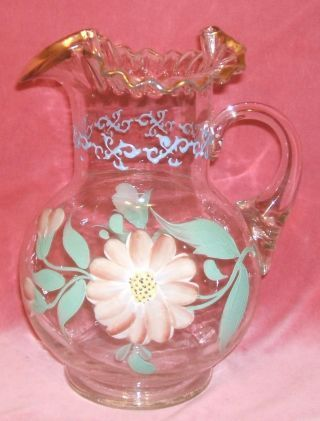 vintage hand painted pitchers | Antique Vintage Hand Painted Bulbous Glass Lemonade Pitcher L@@k photo