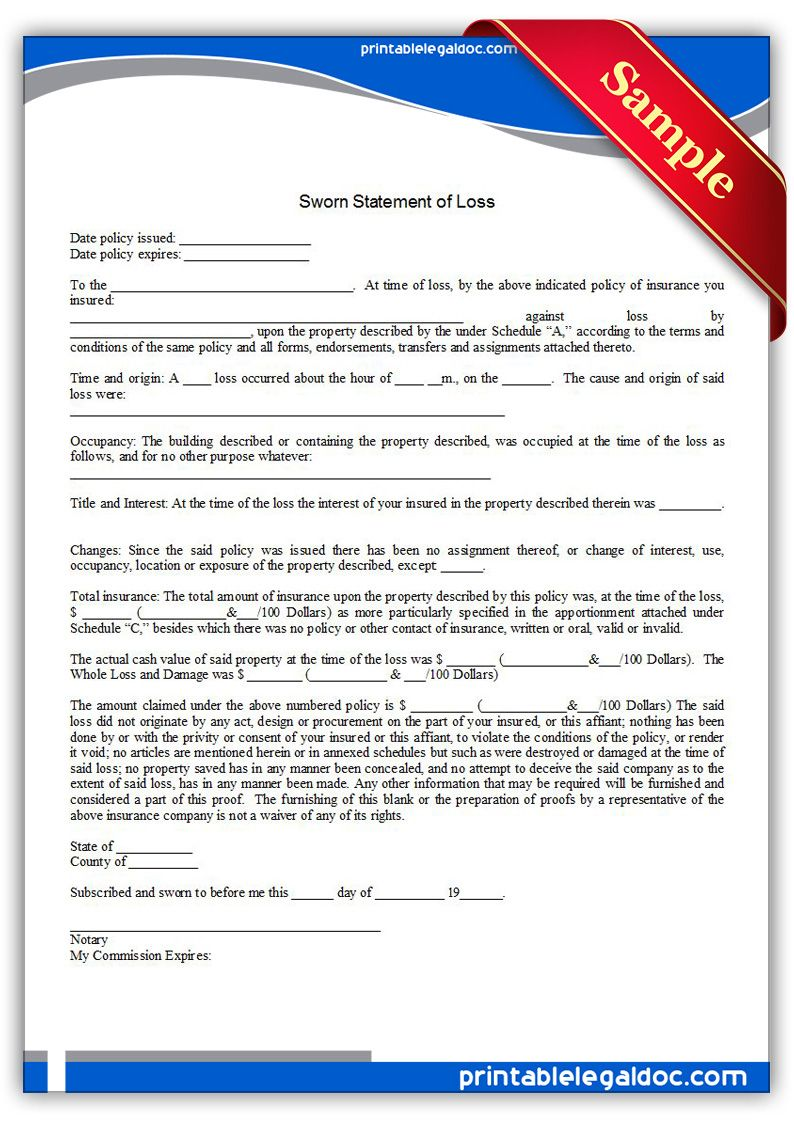 Printable Sworn Statement Of Loss General Template  Blank Sworn Statement
