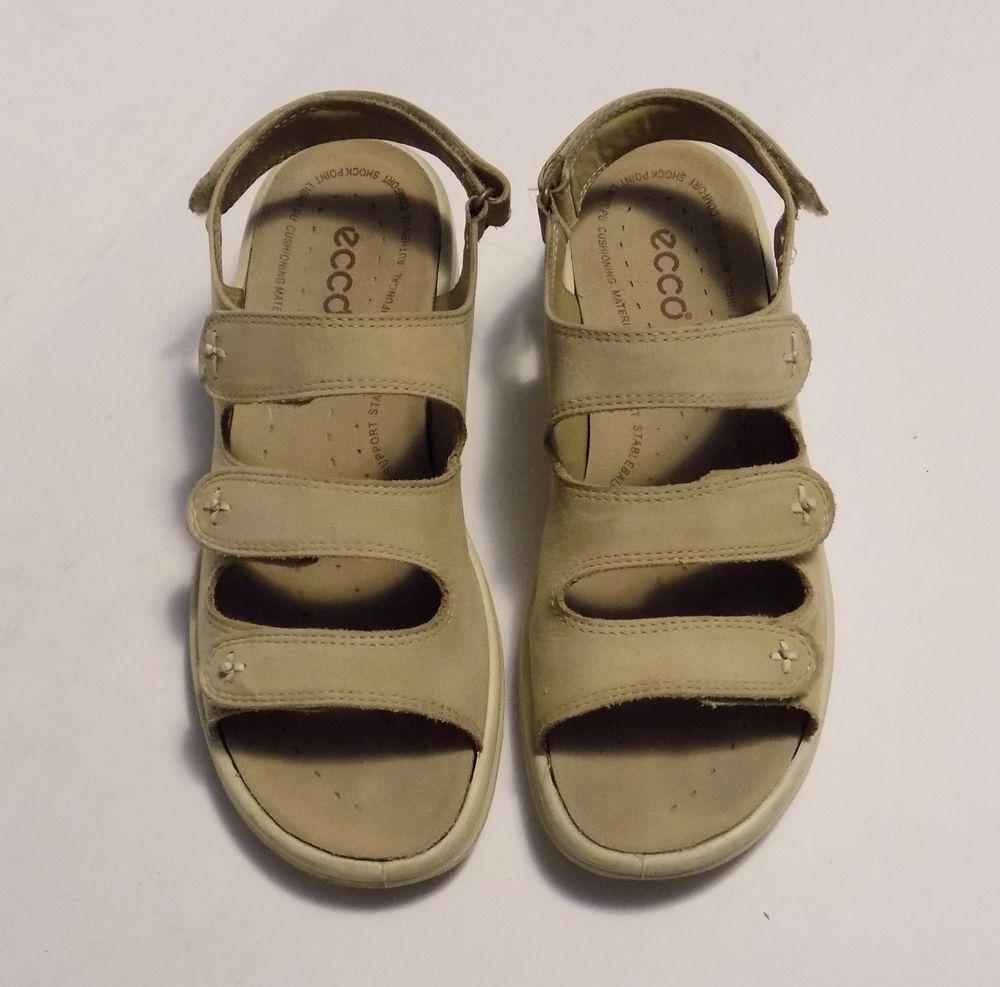 7c63c3ef1a40 ECCO PRIMO Womens Sandals Buff Nubuck Leather 3 Velcro Strap Slingback Size  41  ECCO  SportSandals  Casual