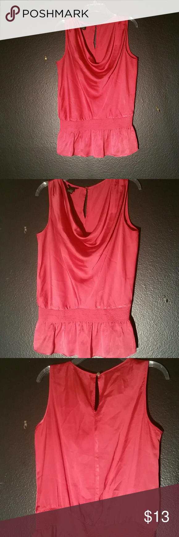Chic Red Blouse Red, sleeveless, shirt with a drape neckline, elastic waist and a keyhole on the back. Silky to the touch. 100% polyester Spense Tops Blouses