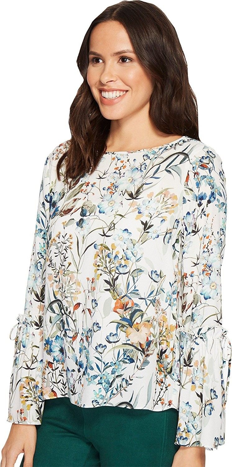 ff7b5b350b7bf Womens Tie Sleeve Blouse - Floral - CW186ONOST6